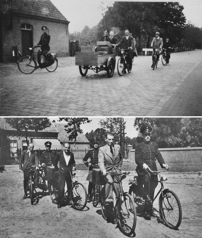 zomer 1943 Wegbrengen distributiebescheiden onder politiebewaking