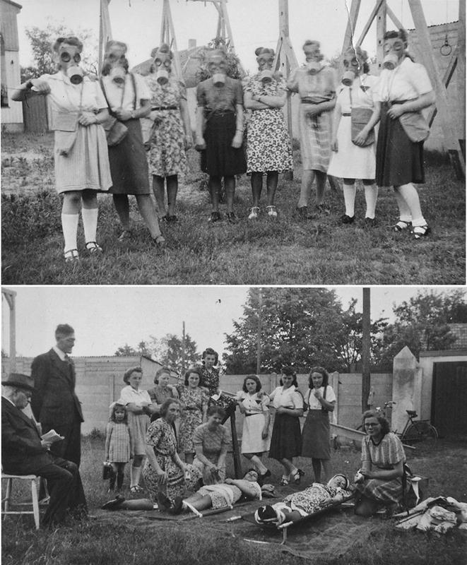 zomer 1943 EHBO oefening t.b.v. de luchtbescherming