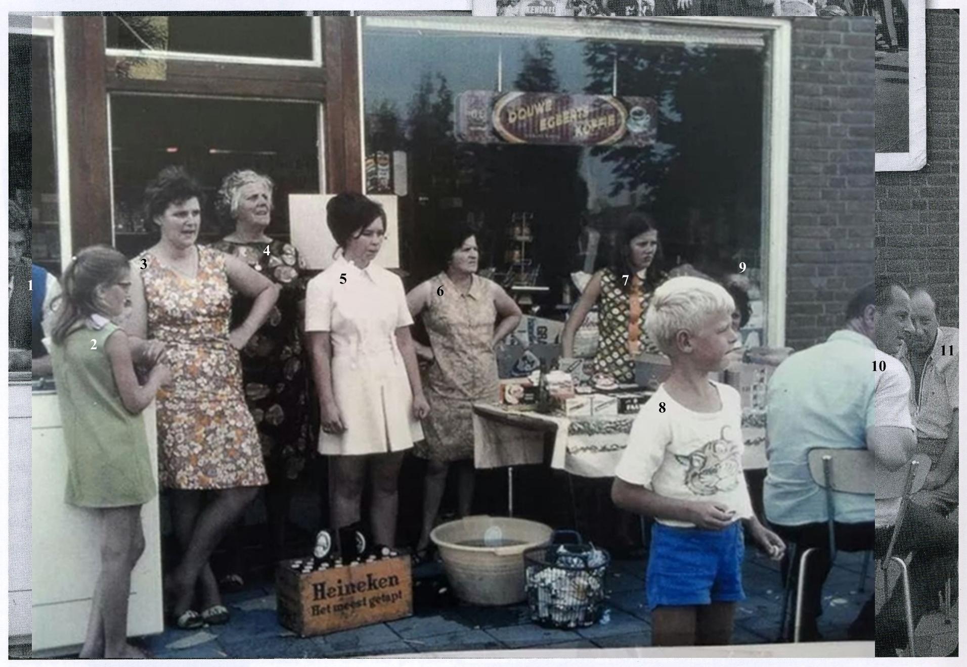 ca1970 Wielerronde voor de winkel van, van der Sloot, Heesakkerstraat