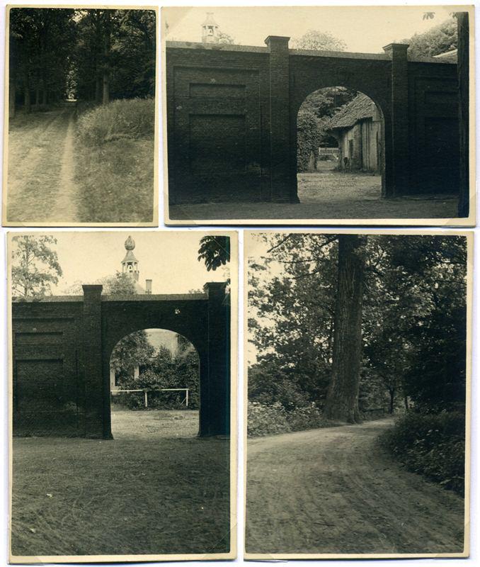 """ca1955, de laan naar Haanwijk, met toen nog niet, den  """"Dikken Boom"""" en doorkijkjes door de zijpoort"""