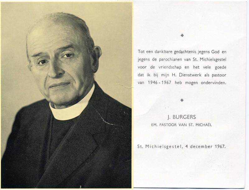 1967 Gedachtenisprentje Pastoor St. Michaël, J. Burgers 1946 - 1967